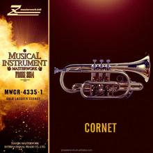Bb cornet, gold lacquer