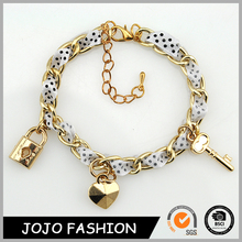 Súper ventas 2015 de oro pulsera de cadena con pulsera del corazón lock and key pendant