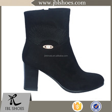 classic high heel korean girl' ankle boots shoes with embroidery and buckle