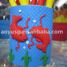 Polymer clay red fish blue pen case