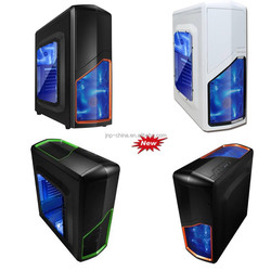 2015 hot selling window side Tower professional gaming ATX computer case with LED light and card reader