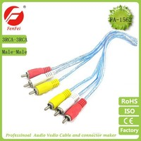 Transparent PVC 3 RCA to 3 RCA Cable/Avi To RCA