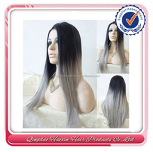 Hot fashion 7a grade human vingin hair silver ombre full lace wig
