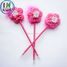 Fashion plush flower wedding feather pen