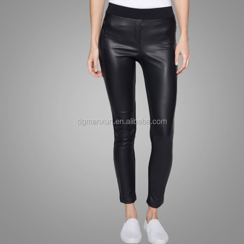 Zip pocket leggings lady fashion sexy women tight pu leather pants
