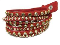 Fashion Jewelry Double Wrap Handmade Bling Bracelet Velvet Leather Bracelets With Rhinestone and Rivet Punk Style
