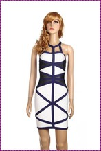 Bandage col haut strape halter moulante moderne robe de soirée