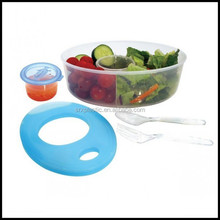 Plastic Lunch Box Fresh Salad On The Go Ice Pack Dressing Compartment Cutlery,custom plastic lunch box container manfuacturer