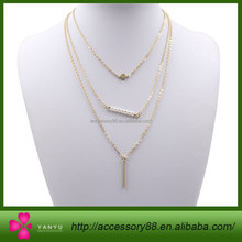 Gold plated Layer Necklace Set Vertical Bar pearl necklace designs small