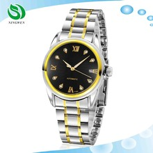 Branded Mens Classic Stainless Steel Automatic Wind Skeleton Mechanical Watch