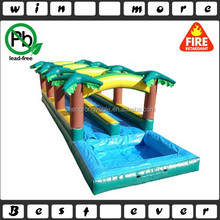 coconut palm double lane slip and side, inflatable commercial water slide, backyard water slide