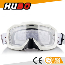 clear transparent white frame custom motocross goggles with elastic strap