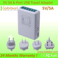 Kabbol 25W 6-port 5V 5A USB Wall Charger Multi Portable Cargador for IPad Air Mini, Samsung Tablets, Galaxy S5 S4 S3,