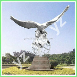 outdoor large stainless steel eagle sculpture