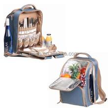 Picnic pack backpack, picnic dinnerware set bag, 4 person picnic backpack
