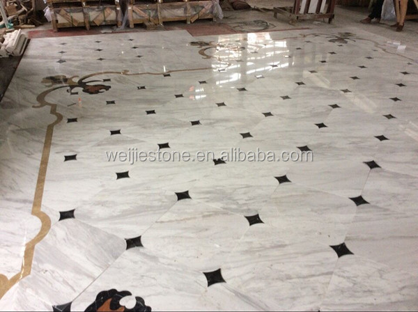 Volakas White Marble Flooring Design Tile And Water Jet