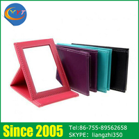 Wholesale One Way Small Hand Square Leather Cosmetic Mirror