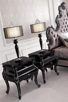 European style baroque wooden Italian elegant romantic black night stand/beside table/bedroom set