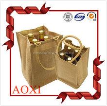 Nature eco foldable laminated custom handled jute wine tote bag