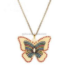 Big Acrylic Butterfly Shape Bead Pendant Necklace