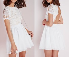 Custom Design Ladies White Lace Skater Dress Open Back Sexy Dress with Short Sleeves