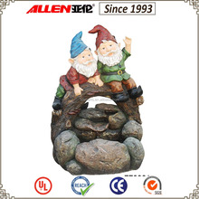 """24"""" gnomes sitting on trunk and rock water feature fountain, garden figure water fountain"""