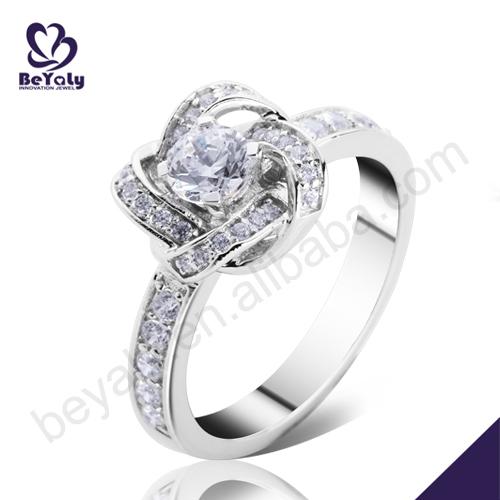 baixo moq estoque de prata para a festa da flor nó de jóias anéis