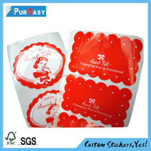 Top grade cosmetics packaging red label stickers prnting