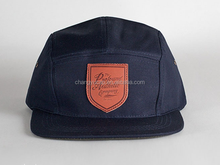 Leather patch 5 panel hat earflap,5 panel baby hat snapback cap,corona 5 panel hat