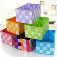 Wholesale cheap handmade decorative colored nylon woven storage basket
