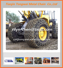 Skid loader tire protection chains