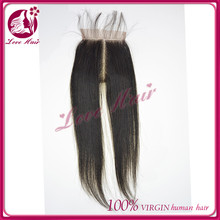 Top quality wedding decoration middle part lace closure chic brazilian straight closure new design black color hair