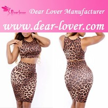 sexy Flirting Leopard Sleeveless Cropped Top and Skirt Set