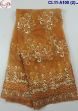 CL11-A100 (2) orange NEW well sold Africa style net embroidery net lace fabric