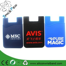 Wholesale cheap phone silicone card holder , 3mm Sticky Wallet Silicone Smart Wallet, Mobile Phone Silicone Pouch