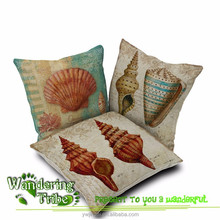 "18"" Ikea Linen Cotton Sea Shell Conch Decor Pillowslip for sofa car coffee shop home hotel bedding decor dining chair pads"