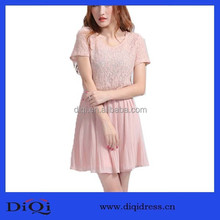 Ladies cheap pink pleated wed dress