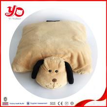 Latest design top quality plush dog pillow, soft stufffed plush dog animal dark yellow pillow