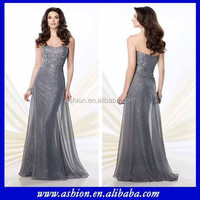 ME-083 Fitted empire bodice bohemian style mother of the bride dress gray chiffon bling bling mother of the bride dresses