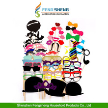 58pcs Photo Booth Props Moustache on A Stick Weddings Christmas Birthday Party Fun