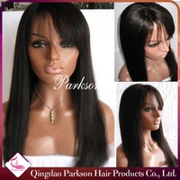 Top Quality 100% Brazilian Human Hair Full Lace Sew In Wig Unprocessed Wholesale 18inch Cheap Full Lace Wig With Bangs