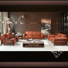 100% Italy import top grain leather luxury furniture sofa HD278 with down feather filling