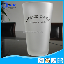 promotion frosted pint glass with decal,beer pint cup with frsoted