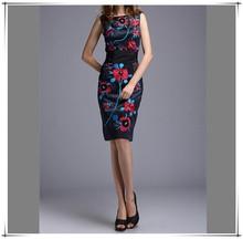 Dark Blue Summer Fashion Dress 2015 Women Wear to Office Ladies O Neck Knee Length Sexy Dress Casual Flower Print Dresses