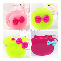 2015 Newest designer silicone girls bowknot handbag customized purse handbags for little girls OEM& ODM