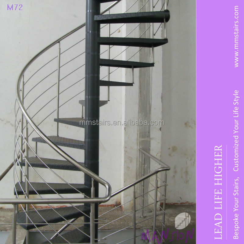 Stainless steel galvanized steel outdoor spiral stairs for Aluminum spiral staircase prices