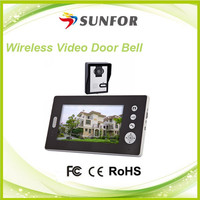 7 Inch Apartment 2.4GHz solar powered wireless door phone with doorbell and Two-way Intercom Function
