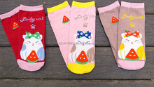 lovely fat cat knitted ankle sock for women