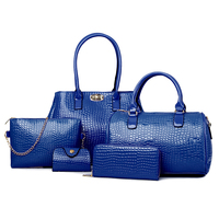 2015 new products 5 pcs in 1 set PU leather top handle tote bag for womenwallet online shopping