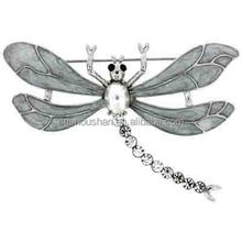 Silver Enamel Pearl and Crystal Dragonfly Brooch Cheap Rhinestone Hijab Pins Female Crystal Insect Broche